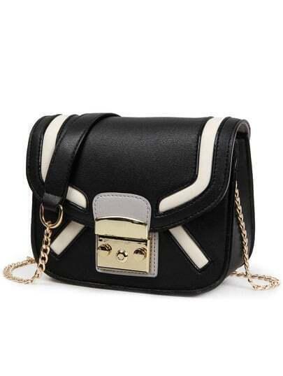 Contrast Push-Lock Flap Chain Strap Bag