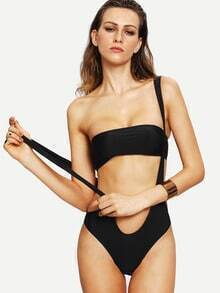 Plunging One-Piece Swimwear With Bandeau Top