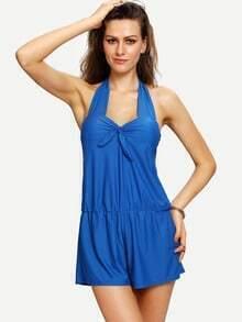 Halter Neck Loose One-Piece Swimwear - Blue