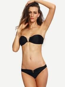 V-Notch Plain Bandeau Bikini Set