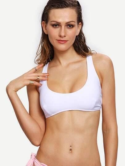 Cutout Lace-Up Back Bikini Top