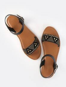 Studded Open Toe Sandals BLACK