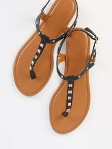 Studded Thong Sandals BLACK