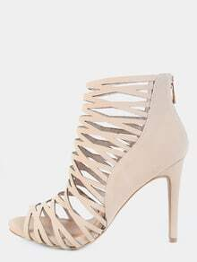 Web Cut Out Caged Heels NUDE