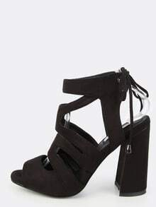 Strappy Tie Back Chunky Heels BLACK