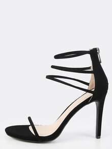 Open Toe Triple Strap Heels BLACK