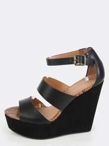 Open Toe Platform Wedges BLACK