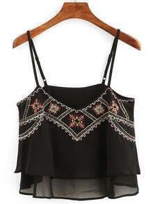 Embroidery Layered Chiffon Cami Top - Black