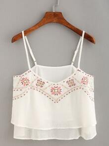 Embroidery Layered Chiffon Cami Top - White