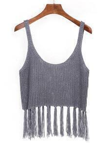 Fringed Crop Knit Cami Top