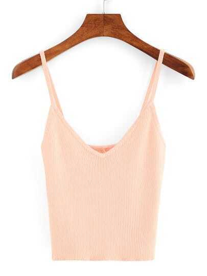 V-Neck Ribbed Crop Cami Top