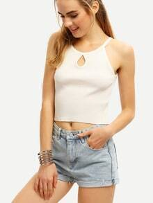 Keyhole Neck Ribbed Crop Cami Top - White