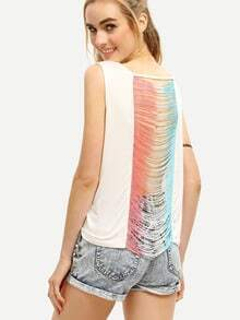 Ombre Fringe Draped Tank Top