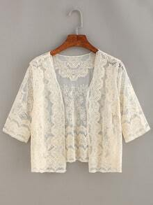 Open-Front Crop Lace Cardigan