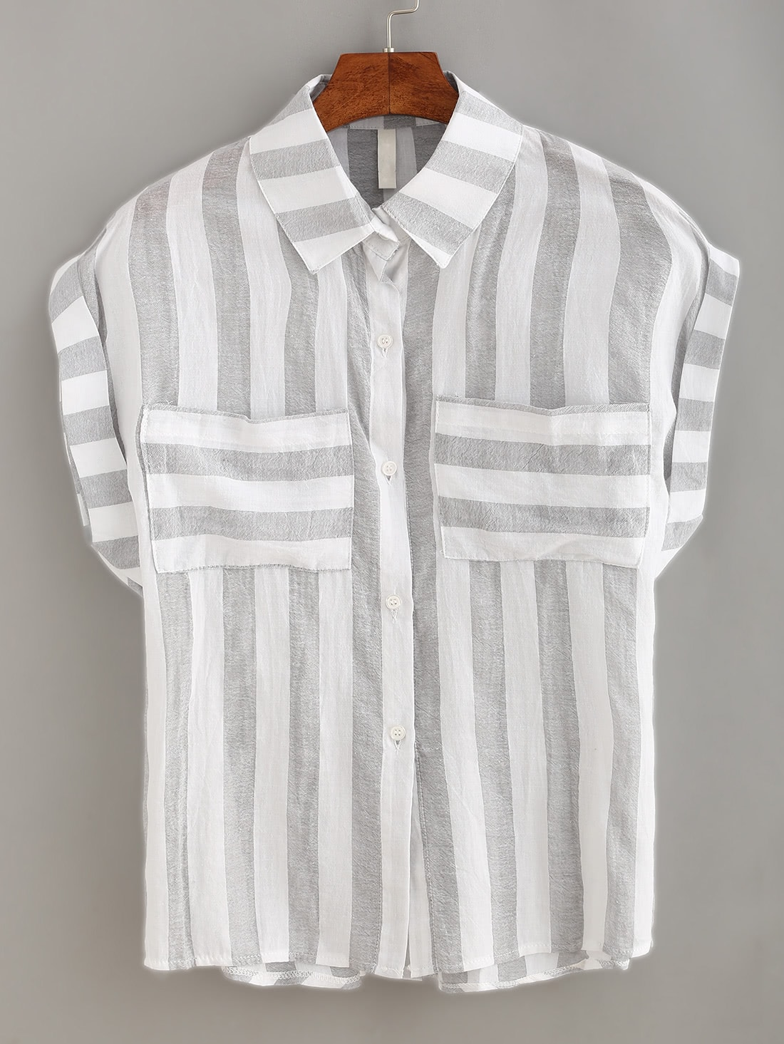 Mixed Striped Dual Pocket BlouseMixed Striped Dual Pocket Blouse<br><br>color: Multi Color<br>size: one-size