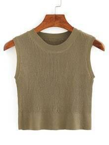 Crop Ribbed Sweater Vest - Olive Green