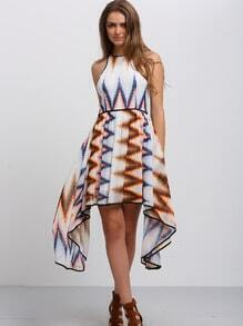 Multicolor Sleeveless Print Asymmetrical Dress