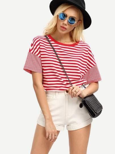 Contrast Trim Neckline Striped T-shirt