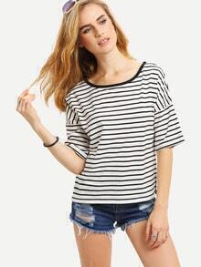 Black White Striped Split Side T-shirt