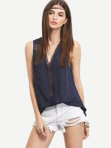 Navy Sleeveless V Neck Hollow Top