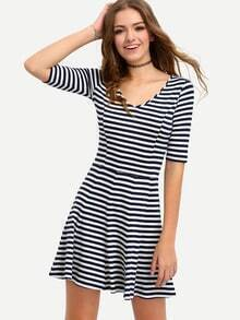 Black White Striped Half Sleeve Dress
