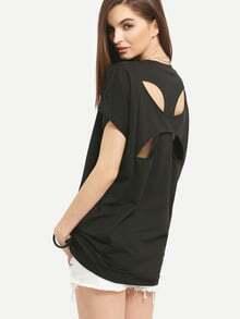 Crisscross Cutout Back T-shirt