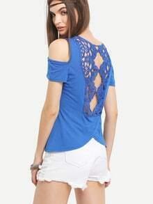 Open Shoulder Lace Back T-shirt - Blue