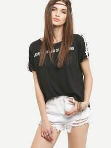 Lace Insert Sleeve Letter Print T-shirt