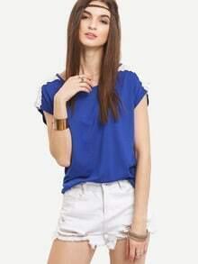 Lace Insert Sleeve Keyhole Back T-shirt