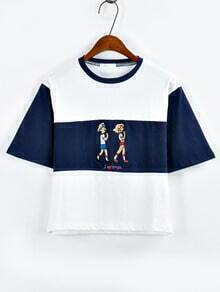 Embroidery Color Block T-shirt - Blue