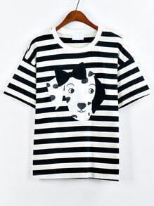 Contrast Neck Dog Print Striped T-shirt