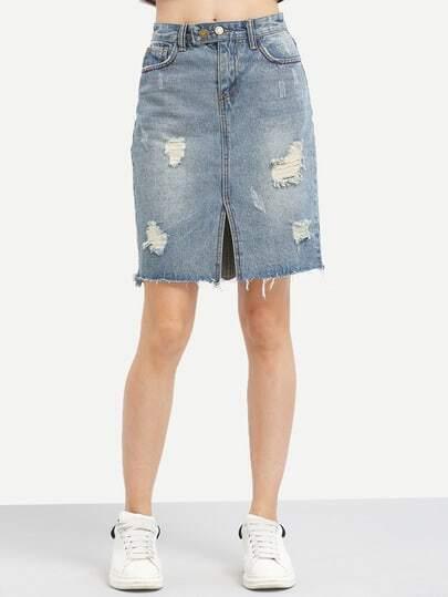 hem slit front denim skirt shein sheinside