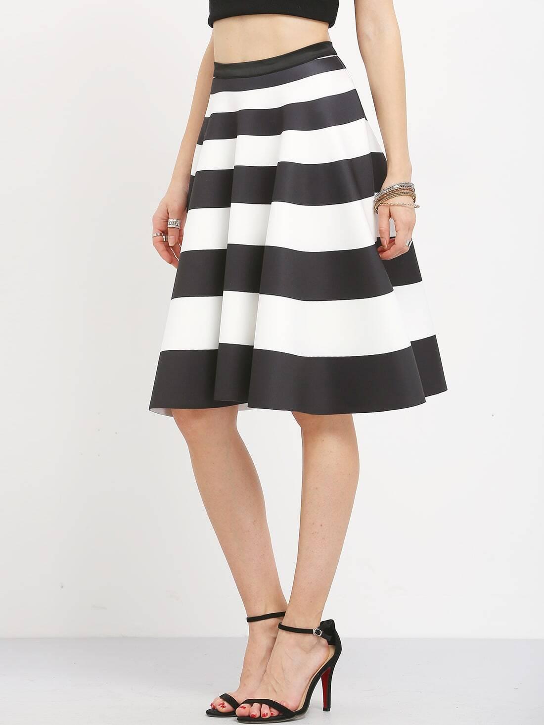 wide striped a line midi skirt shein sheinside