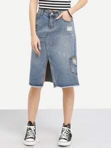 Raw Hem Slit Front Denim Skirt