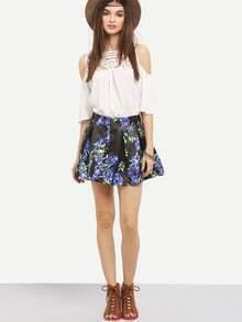 Flower Print Box Pleated Mini Skirt