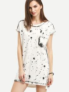 Paint Splatter Print High-Low Shift Dress
