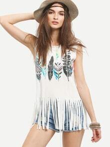 Feather Print Fringe Tank Top - White