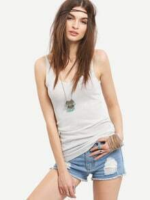 Scoop Neck Knit Tank Top - White