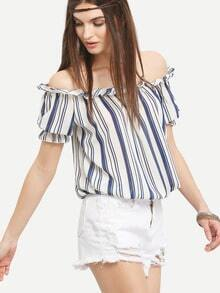 Ruffled Off-The-Shoulder Vertical Striped Top