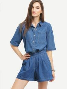 Loose-Fit Short Sleeve Denim Shirt With Shorts
