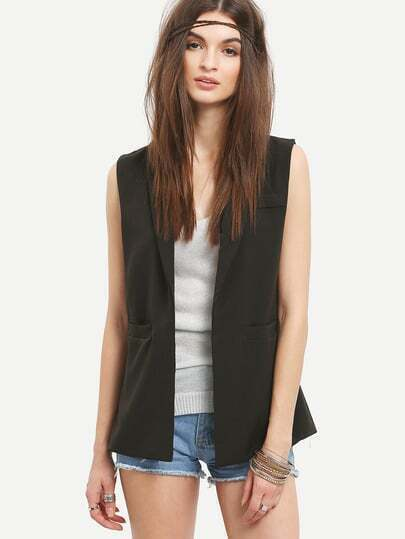 Three Pocket Front Sleeveless Blazer - Black