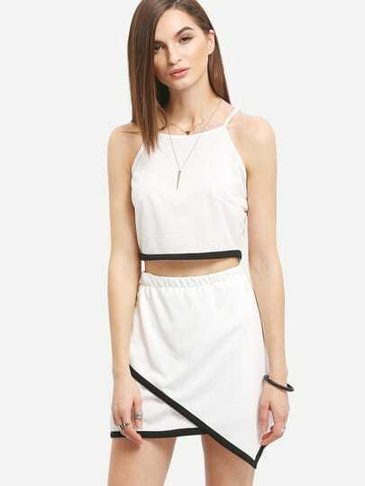 Contrast Trim Cami Top With Asymmetric Mini Skirt