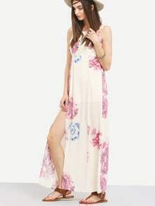 Ruffled Strap Flower Print Long Dress