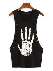 Ripped Drop Armhole Printed Tank Top