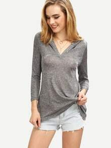 V-Neck Hooded Long Sleeve T-shirt