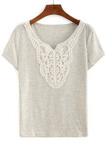 Crochet Neck Slub T-shirt