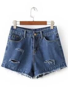 Dark Blue Pockets Fringe Ripped Hole Denim Shorts