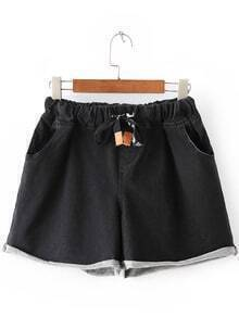 Black Roll Cuff Pockets Elastic Tie-Waist Denim Shorts