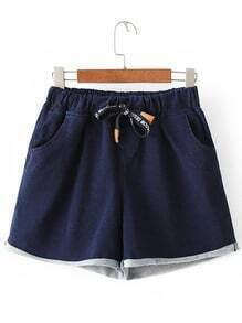 Blue Roll Cuff Pockets Elastic Tie-Waist Denim Shorts