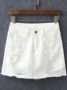 White Pockets Ripped Hole Denim Culottes